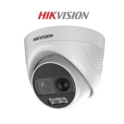 Camera HDTVI Colorvu 2MP HIKVISION DS-2CE72DFT-PIRXOF tích hợp còi, đèn báo động