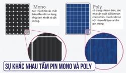 So sánh sự khác nhau giữa tấm pin điện năng lượng mặt trời Mono và Poly